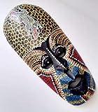 Máscara africana de madera, 30 cm, pintada a mano.