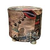 Taburete Madera Redondo, Puff Decorativos, tapizado Piel sintética, 28x28x34 cm - Banco, banqueta, posapies, Asiento bajo. (Londres)
