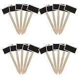20 Piezas Etiquetas de Plantas Letrero de Jardín Ecológico Marcadores de Planta T-Tipo Forma de Flecha Mini Pizarra de Madera para Maceta Decorativas DIY Bonsai