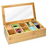 Navaris Caja de Madera para bolsitas de té - Caja organizadora de bambú para infusiones - Caja con Tapa - 10 Compartimentos - Ventana Transparente