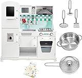 Mamabrum Cocina Juguete Grande para Niños de 3 Años, Cocinita de Juguete de Madera con Teléfono, Pizarra, Accesorios y Utensilios de Cocina para Juegos de rol, Juego de Imitación