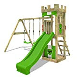 FATMOOSE Parque infantil de madera TreasureTower con columpio y tobogán manzana verde, Torre de escalada de exterior con arenero y escalera para niños