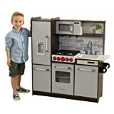 KidKraft- Cocina de juguete de madera, con luces, sonidos y máquina de hielo, montaje EZ Kraft Assembly, Play Kitchen Uptown Elite Espresso, Color Gris (53426)
