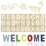 Letras de Madera, Scrabble en Inglés, Letras Mayúsculas A-Z 104 Piezas, Alfabeto de Madera Decoración Artesanal, Color Madera