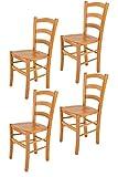Tommychairs - Set 4 sillas Venice para Cocina y Comedor, Estructura en Madera de Haya Color Miel y Asiento en Madera