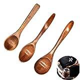 Yueser 3 Piezas Cuchara de Madera Natural Eco-Friendly Vajilla Sopa Té Miel Cuchara de café Accesorios de Cocina(3 Tamaños)