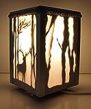 Lámpara de madera artesanal, para mesita de noche,pantalla de tela, diseño clásico vintage, para dormitorio, estudio, salón, etc