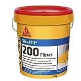 SikaFill 200 Fibras, Gris, Pintura acrílica con fibras de vidrio para impermabilización de cubiertas visitalbles y protección de pareces medianeras, 5kg