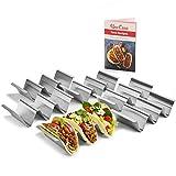 Juego de 6 soportes para tacos Uno Casa - Soporte metálico para tortillas - Bandeja para tacos resistente para los martes de tacos o como molde para tortillas, Ebook de recetas
