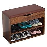 RICOO WM032-EC-B Banco Zapatero 60x42x30cm Armario Interior con Asiento Organizador Zapatos Mueble recibidor Perchero Madera Roble marrón rústico