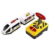 TOYANDONA Juguete Educativo de Tren de Control Remoto Eléctrico para Niños Compatible con Vías de Tren de Madera sin Batería
