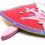 JUMI - Pack Espada y Escudo de Madera con Dibujo de Corona - Arma de Juguete para Niños - para Juegos de Lucha - Color Rosa/Lila