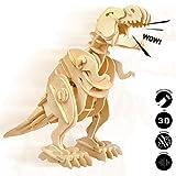 Robotime Madera Jigsaw Puzzle 3D Dinosaurios Montar Wood Craft Mejor Cumpleaños Niños para Adultos (Walking T-Rex)