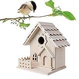 Bestevery Pajarera de Madera,Cerca de La Casa de Pájaros de Madera Creativa Casa de Pájaros Colgante Casa de Pájaros Práctica Nido de Pájaros Retro Estación de Alimentación de Pájaros