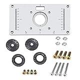 Placa de mesa de enrutador de aleación de aluminio con 4 anillos tornillos para bancos de carpintería, 235 mm x 120 mm x 8 mm