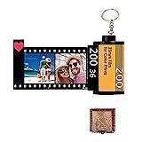 Jinlinjew Llaveros personalizados con imagen colorida - Rollo de película para cámara Llaveros personalizados 10 fotos + texto Foto carrete Álbum con caja de regalo de madera