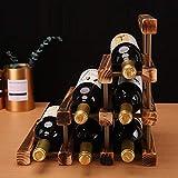 Mostrador de madera de bambú en forma de triángulo de encimera - Gabinete de madera para mostrador de vino Soporte de almacenamiento Bodega, Ranuras de almacenamiento de botellas de vino de mesa para