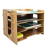 Organizador de escritorio de madera | Organizador de escritorio de documentos A4 | Bandejas de madera para archivar | Pukkr