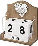 Calendario de escritorio perpetuo de madera con corazón tejido.