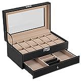 Songmics JWB012 - Caja para 12 de relojes y cajón joyería, soporte de exhibición con vitrina, color negro y crema
