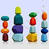Jiahuade Piedras de Equilibrio de Madera,Bloques Equilibrio Madera,Juguetes de Apilamiento de Madera,Apilamiento de Madera para Niños,Montessori Niños,Bloques de Construcción de Madera