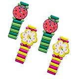 STOBOK 4 relojes de pulsera de madera para niños, regalo de cumpleaños para niños, juguetes (aleatorio)