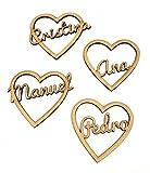 Nombres marcasitios de madera con corazón (1 unidad). Personalizados. Ideal bodas, comuniones, bautizos, cumpleaños, celebraciones. Producto 100% español.