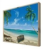 CCRETROILUMINADOS Playa con Barca Cuadro con Marco Madera Iluminado con Luz Leds, Metacrilato, Multicolor, 60 x 80