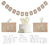 MR & MRS Set de decoración, letras de boda, decoración de madera blanca, guirnalda recién casados, banderines vintage, banderines y adornos para tartas para decoración de bodas, despedida soltera