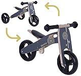 BIKESTAR 2 in 1 Bicicleta sin Pedales Madera para niños y niñas Bici Ajustable 7 Pulgadas | Bicicleta y Triciclo Mini a Partir de 1-1,5 años | 7' Edición Sport Negro