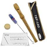 Tuyama Flauta TFS-18D C-Soprano Flauto Dulce Soprano - Digitación Alemana - Madera de Arce - con Tablatura y 2 Partituras - Soprano Recorder Flute
