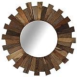 vidaXL Espejo de Pared Redondo Madera Maciza Reciclada Diámetro 50 cm Decoración Hogar Casa
