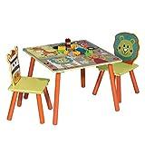 WOLTU 3 uds. Grupo de Asientos para Niños Mesa y 2 Sillas Muebles Animales del Bosque Juegos de Mesa y sillas en Edad Preescolar Muebles para Niños SG006