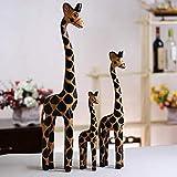 Estatuas Decorativas,Creative 3Pcs/Madera Familia Jirafa Escultura Animal Figurines Diseñados,Home Escritorio Estante Decoración De Arte Artesanía Estatuillas para Interiores, Salón U Oficina