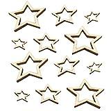 Amosfun 100 Piezas DIY Rodajas de Madera en Forma de Estrella Hueca Manualidades de Madera para Pintar Infantil Adornos de Madera Artesanía (10/20/30 mm)