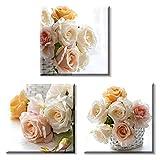 Cuadros Decoracion Rosas en Cesta Impresion en Lienzo 3 Piezas 30x30cm Bastidor de Madera Arte de la Pared para Salon Dormitorio Cocina Baño Pasillo