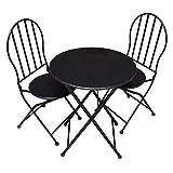 PrimoLiving P-536 - Mesa de jardín con dos sillas de metal y madera, color marrón oscuro