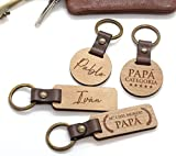 Llavero de madera y cuero personalizado grabado por las dos caras. Ideal regalo Día del Padre, cumpleaños.