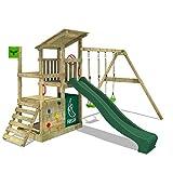 FATMOOSE Parque infantil de madera FruityForest con columpio y tobogán verde, Torre de escalada de exterior con arenero y escalera para niños