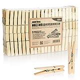 com-four 120x Pinzas de Madera sostenibles Hechas de Madera de Abedul sin Tratar para Colgar Ropa y Manualidades (120 Piezas - Abedul)