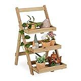 Relaxdays Estantería para flores con 3 estantes para interior y exterior, madera, de pie, 80,5 x 50 x 61 cm, natural, 1 unidad