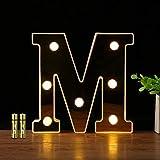 HONPHIER Letras luces alfabeto lámpara LED carta iluminación letras iluminadas Nachtlichter decoración para cumpleaños Party bodas guarderías (M)