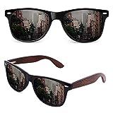 GQUEEN Gafas de sol Polarizadas Rectangulares Clásicas de Madera Para Hombres y Mujeres con Protección UV MOS08