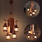 Lámpara en suspensión industrial vintage Lámpara colgante rústica de madera Metal y vidrioCreative E27 portalámparas Lámparas de araña regulable en altura 4 llamas negro Lámpara de techo para barra