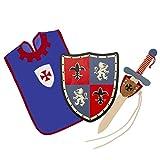 Txkkids Juego de Espada y Escudo Madera,Caballero Medieval,Armas para Niños,Incluye Colgador y Peto.