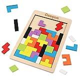 Coogam Puzzle de Madera 40 Piezas Tangram Jigsaw Brain Teaser Toy para Adulto Caja de Rompecabezas de Madera Juego de Cerebro Bloque de Construcción Inteligencia Regalo Educativo para Niños
