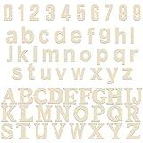HANDI STITCH Letras de Madera y Números Madera Sin Acabado (124 Piezas) 52 Letras Mayúsculas y 52 Letras Minúsculas (A-Z) 20 Números (0-9) Piezas Decorativas para Aprendizaje y Manualidades