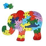 Rompecabezas De Madera Educativo para Niños   Puzzle De Bloques De Construcción   Juguetes Infantiles para Regalo De Cumpleaños Y Navidades   Elefante