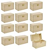 BUSDUGA Caja del tesoro de madera, para pintar y manualidades (12 cofres del tesoro)