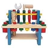 Banco de trabajo de simulación de madera para niños, juego de simulación de herramientas simulación de mesa juguetes de bricolaje de rompecabezas